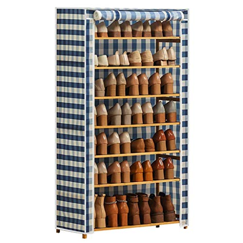 El almacenamiento en zapatero es simple y práctico Bastidores de zapatos 7 niveles Zapatillas de zapatos con cubierta a prueba de polvo Armario Zapato Gabinete de almacenamiento Organizador Entrada Or
