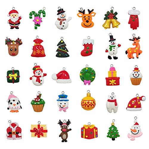 30pcs Christmas Mini Ornaments - Small Resin Christmas Ornaments for Mini Christmas Tree Decorations