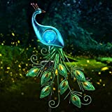 Garden Solar Lights Stake, CHINLY Metal Peacock Decor Solar Garden Lights Solar Peacock Stake for Outdoor Patio Yard Decorations (Blue Lampshade)