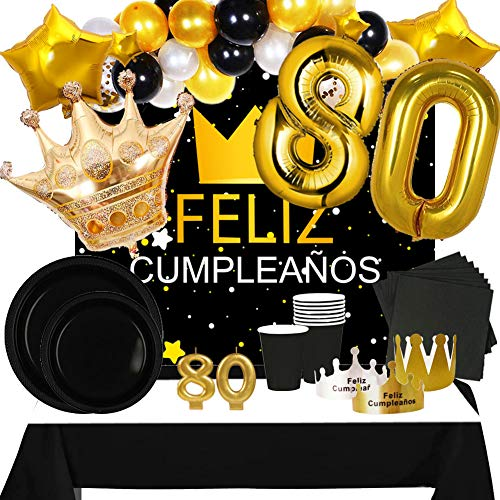 Fiesta Cotigo Pack de Artículos para Fiesta Cumpleaños Número 80-Decoración de Globos Cumpleaños,Set de Vajilla Desechable y Accesorios-Temática Negra y Dorada para Adultos Hombres y Mujeres