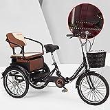 SN Plegable Triciclos para Adultos Bicicleta De 3 Ruedas 1 Velocidad Carga con Cesta Compra Asiento Ajustable Frenos Traseros Delanteros para Hombres Mujeres (Color : Black)
