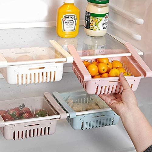 4 organizadores para el frigorífico, ajustables, organizadores de particiones para frigorífico, cajones extensibles, para frigorífico, caja de almacenamiento, azul, verde, rosa, beige