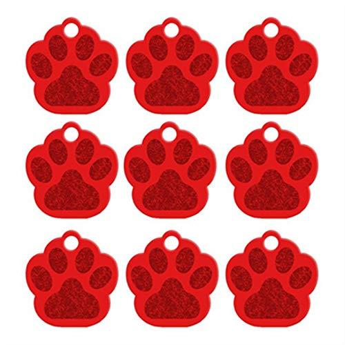 MTHW 100 etiquetas personalizadas para perros 3D personalizadas, accesorios grabados para perro, identificación de gato, cachorro, placa colgante (color: rojo, tamaño: 32 x 35 x 1,2 mm)