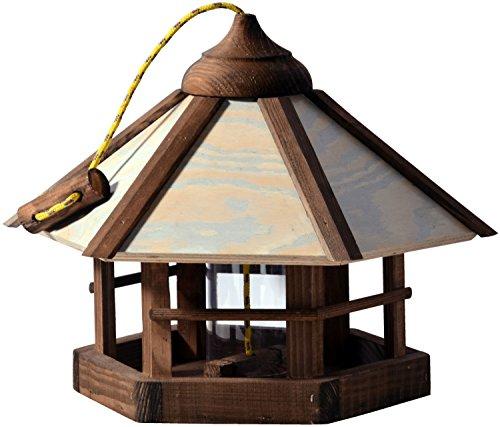 Casetta per uccelli dal design elaborato 'mimetico' con silo, mangiatoia per uccelli selvatici a 6 angoli da appendere, 35 x 35 x 29 cm