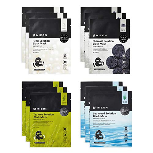 Mizon Solution Black Mask Volcanic Ash with Minerals, Far-Infrared Radiation for Detox, Deep Clean Skin, Black Mask Sheet Delivers Nutrients, Pore Care, Spa Treatment Mask Sheet Set (12 combo)