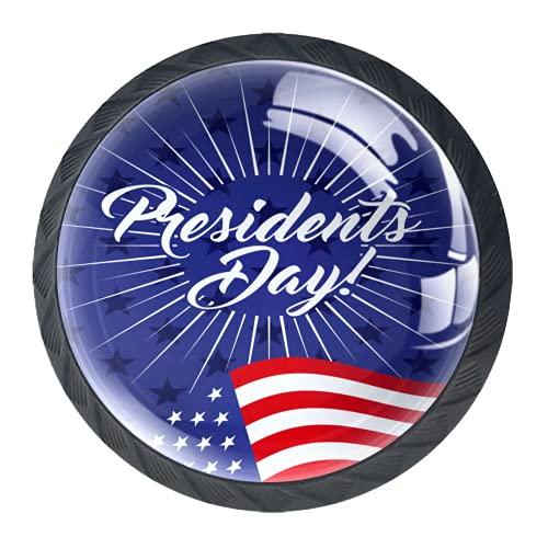 OLEEKA Tirador de manijas de cajón Perillas Decorativas del gabinete del cajón Manija del cajón del tocador 4 Piezas,Elegante día del Presidente Estadounidense