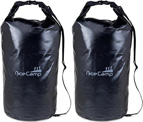 AceCamp - Sac à dos étanche flottant avec sangle de transport, Doppelpack Schwarz, 20 l