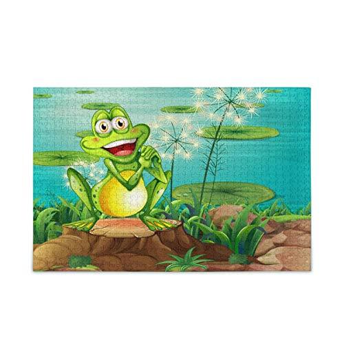 Puzzle 500 Piezas/Puzzle 1000 Piezas, Cute Animal Frog Rompecabezas para Adultos 500 Piezas Juegos de Rompecabezas educativos Juguetes para familias Adolescentes