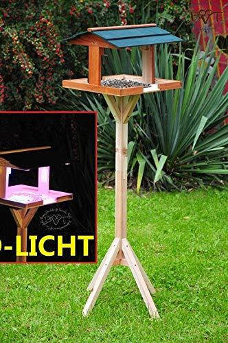vogelfutterhaus,XXL,mit Licht,DACH DUNKEL-GRÜN,mit Beleuchtung,LED-Licht / Vogelhaus,wetterfest IN DUNKELBRAUN,VIERDAORI-BEL-dbraun001 NEU MASSIVES GANZJAHRES-Vogelhaus,KOMPLETT mit Ständer !!! wetterfest lasiert, Vogelfutterhaus MIT-Futterstation Farbe braun dunkelbraun schokobraun rustikal klassisch,Ausführung Naturholz MIT WETTERSCHUTZ-DACH für trockenes Futter - 2