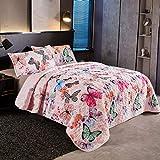 LAMEJOR Butterfly Quilt Set Queen Size Comforter Set 3-Piece Bedspread Coverlet Set Microfiber Color Pink