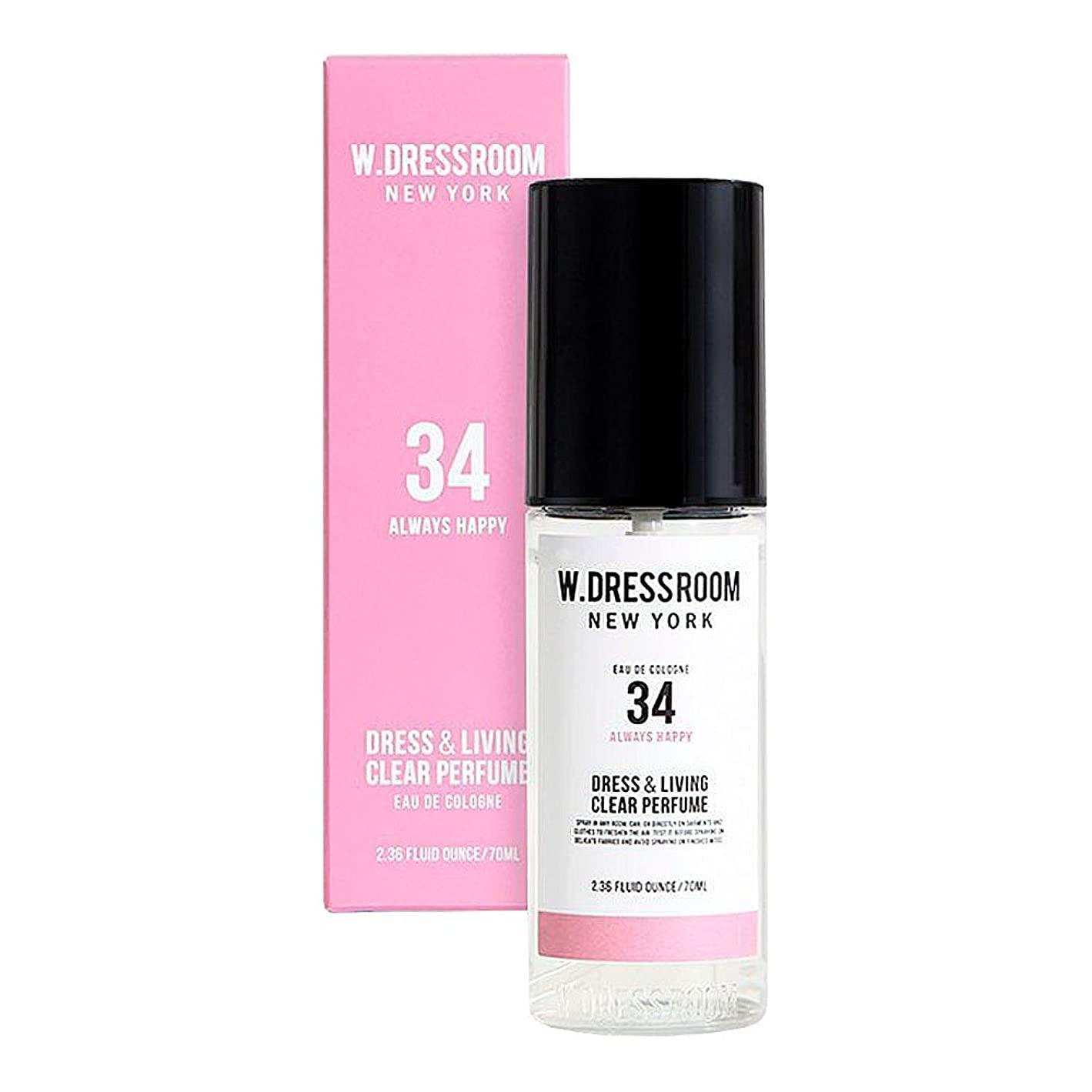 病院一貫したルビーW.DRESSROOM Dress & Living Clear Perfume fragrance 70ml (#No.34 Always Happy)/ダブルドレスルーム ドレス&リビング クリア パフューム 70ml (#No.34 Always Happy)