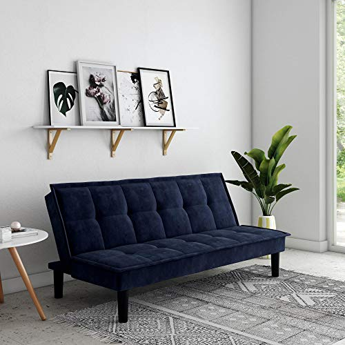 DHP Oscar Memory Foam, Full Size Armless Sofa Bed and Couch, Blue Futon,