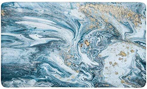 Quafoo Blue Stone Abstract Öl gemalte Wellen Fußmatte rutschfeste Innen- / Außenbodenmatte Wohnkultur, Türmatte Eingangsteppich Gummirücken 23,6