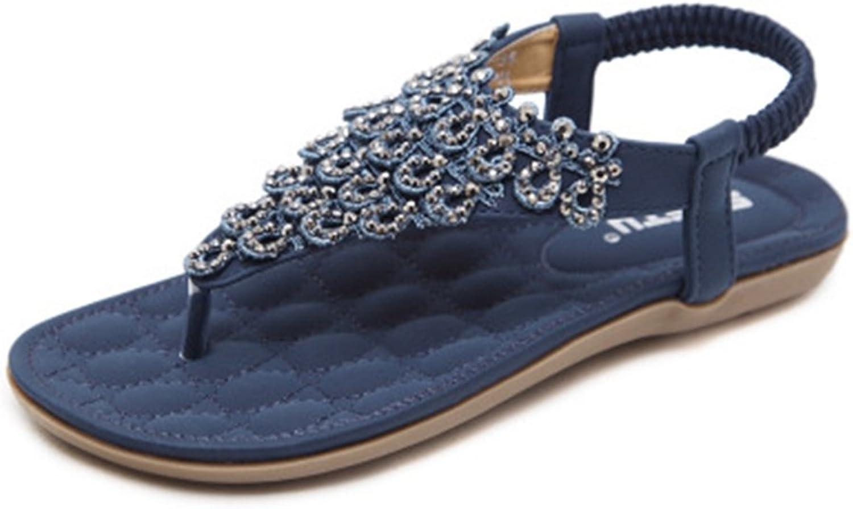GIY Bohemian Flat Flip Flops Sandals for Women with Rhinestone Comfort Elastic Summer Beach Thong