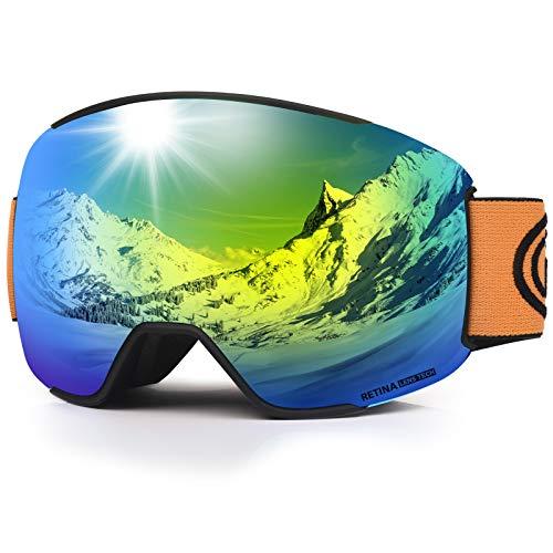 LEMEGO Skibrille Ski-Goggle Snowboardbrille Doppel-Sphärisch Linse OTG UV-Schutz Anti-Fog Helmkompatible Schneebrille Verspiegelt mit Magnet-Wechselsystem Brille für Brillenträger Herren Damen (Gold)