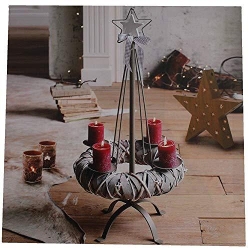 Joka International GmbH LED Canvas foto Adventskrans verlicht decoratie kerstmis afbeelding 45x45x1,5 cmm