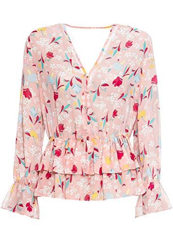 bonprix Bedruckte Chiffon-Bluse mit elastischem Band in der Taille vintagerosa geblümt 36 für Damen