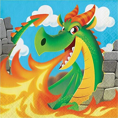 Creative Converting 16 Servietten * Drachen * für eine Mittelalter-Party | Mottoparty Kinder Geburtstag Motto Party Kindergeburtstag Drache Dragons Burg Ritter