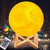 Lampe Lune 3D, PAREIKO Veilleuse LED avec Interrupteur Tactile, 16 couleurs 4 modes d'éclairage,...