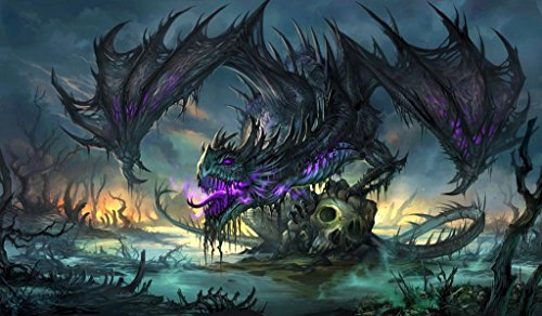 """Masters of trade Zombie Dragon TCG playmat, gamemat 24"""" Wide 14"""" Tall for Trading Card Game Smooth Cloth Surface Rubber Base"""