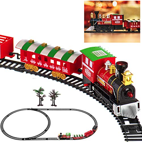 LIVIVO Deluxe 17pc Christmas Train Track Set with Realistic Sound and Head Light With 3 Carriages- Colourful Festive Tree Decoration Toy with Carriages and Tracks – Perfect Xmas Kids Toy Gift