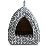 Hollypet Self-Warming 2 in 1 Foldable Comfortable Triangle Cat Bed Tent House, Grey