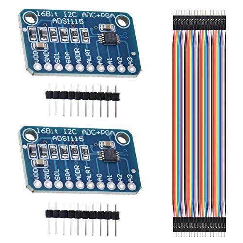 Youmile 2PCS ADS1115 ADC Analog Digital Modul 16 Bit 4 Kanal I2C ADC Entwicklungsplatine Analog Digital Wandler für Arduino Raspberry Pi mit Dupont Kabel