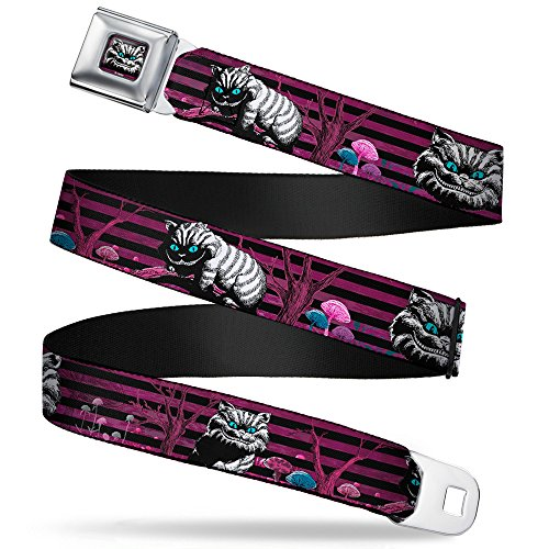 Buckle-Down Unisex-Erwachsene Full Color Seatbelt Belt-Cheshire Cat Face/Poses Stripe Purple/Black/White X-Large Webbing Gürtel, Mehrfarbig, 4 cm Breit-81/132 cm Länge