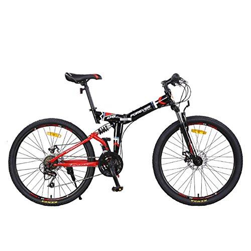 YEARLY Berg klappräder, Erwachsene klappräder 24 Geschwindigkeit Männlich Doppelter stoßdämpfer Weiche rute Klapprad Damen-Rot 24inch