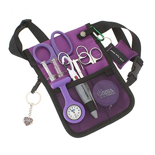 AsaTechmed Medical Belt Utility Kit, Nurse Pro Pack Pocket Organizer Pouch Hip Bag | Antimicrobial, EMT, CNA, NP, PA, Student, Nurse Kit (Purple)