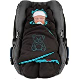 ByBoom Manta de invierno para bebé 'El original con el oso' universal para portabebés, asiento de coche, por ejemplo, para Maxi-Cosi, Römer, para cochecito, cochecito o cuna.