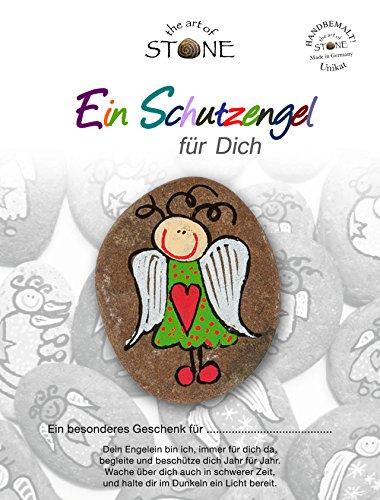 The Art of Stone - Schutzengel Grün-rotes Herz - Glücksstein mit Engel - Handbemalter Naturstein als Glücksbringer Decostein Talisman Mutmacher