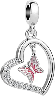 Q&Locket Heart Love Butterfly Charms Beads for Bracelets