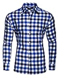 Kayhan Hombre Camisa Slim fit, Quadri Doppelfarbig Blue S