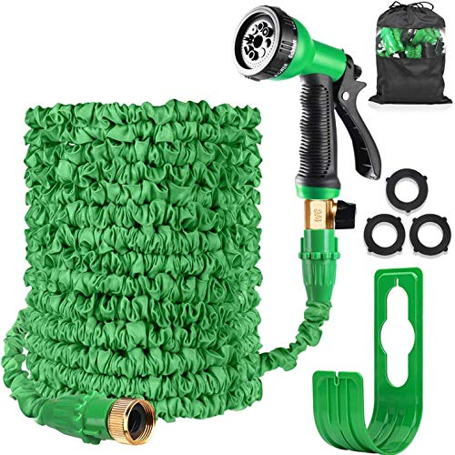 Expandable Garden Water Hose Pipe Expanding Flexible Hose with 8 Function Spray Gun Nozzle Brass Fittings Valve Wall Holder/Storage Bag for Lawn/Pet/Car/Boat Wash (100FT Garden Hose, Green)