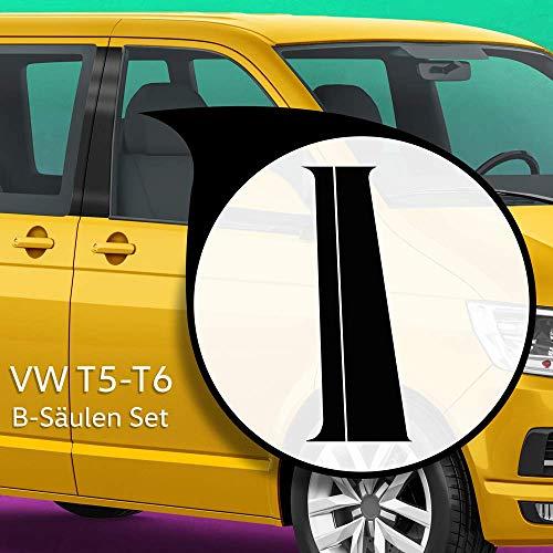 Auto-Dress® B-Säule Aufkleber Set/Dekor passend für VW T5 & T6 Bus in Wunschfarbe (Schwarz-Glanz)