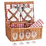G GOOD GAIN Picnic Basket Set | 4 Person Picnic Hamper | Wicker Picnic Basket for 4 | Picnic Set for 4 |...