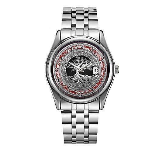 Men's Fashion Silver Steel Bracelet Japanese Quartz Watch for Men Date Week Display Luminous Hour Casual Wrist Watch Treasure Trove Celtic Tree of Life [Silver] Wrist Watches