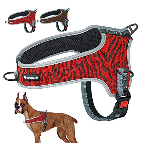 Muttitude No-Pull Training Dog Harness - Front Clip Dog Harness – Brown, Red, Orange, and Black Dog Harness for Dogs 10 to 55 Lbs (L, Red)