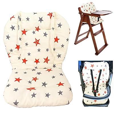 Cojín para silla de bebé alta, cojín para asiento de bebé cojín para silla alta, cojín de doble cara suave con patrón de estrellas, cojín transpirable (estrella)