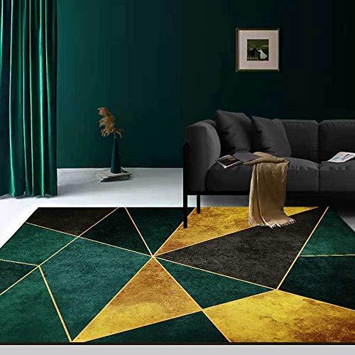 Tapis décoration Salon Tapis de Salon Moderne Motif géométrique de Luxe Jaune doré Vert foncé Tapis Ados Bureau ado 140*200cm