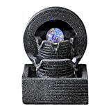 MZBZYU Indoor Water Fountain Relaxation Meditation Waterfall with LED Light Rolling Ball and Circulating Water Flow Desk Fountain Decoration for Office Living Room Bedroom