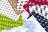 Frankinelli Tessuti Cotone Colorato a Pois 10 Fogli Grandi da 50 x 50 Stoffa per Cucito Creativo a Pois 100% Cotone Oeko-Tex Confezionato in Italia
