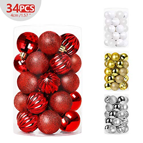 SHareconn 34ct 1.57 Christmas Balls Ornaments Shatterproof Christmas Tree Decoration Ball for Family Holiday Party,Tree Ornaments Hooks Included (40mm Red)