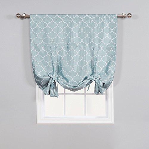 home fashion shades Best Home Fashion Faux Silk Blackout Quatrefoil Shade - Tie-up - Porcelain Blue - 42