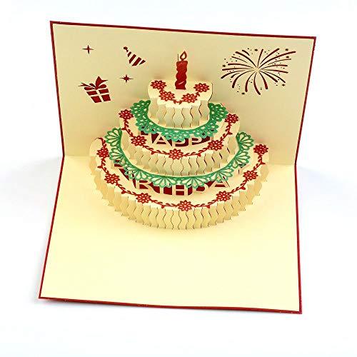 MAXGOODS 2 Pezzi Carte Di Compleanno Pop-up, Biglietti Candele Torta Buon Compleanno Auguri Di Cartolina A Mano Buste Per Sorella, Mamma, Moglie, Bambini, Ragazzo, Ragazza, Amico, Rosso