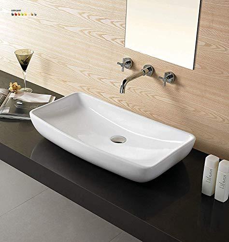 24' Bathroom Porcelain Ceramic Vessel Sink CV7562B(no overflow system) + FreePop Up Drain