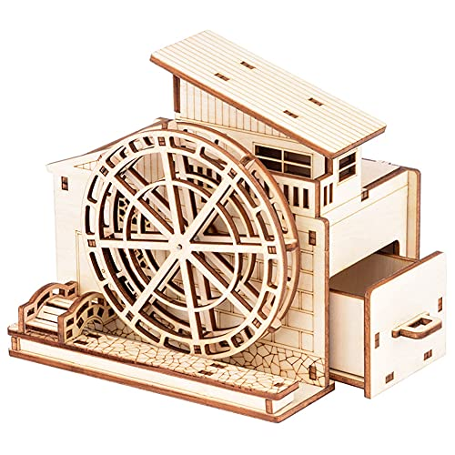 ABCD Rompecabezas De Madera 3D DIY Waterwheel Pen Holder Model, Caja De Música De Clock Toy Educational Juguete Niños Rompecabezas Regalo