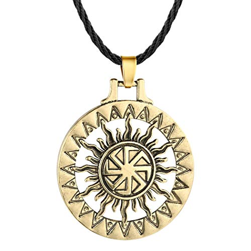 Handcrafted Viking Norse Amulet Pendant Necklace, AILUOR Vintage Sun Wheel Kolovrat Celtic Pagan Slavic Symbol Warrior Talisman Necklace Jewelry Men Unisex (Bronze)