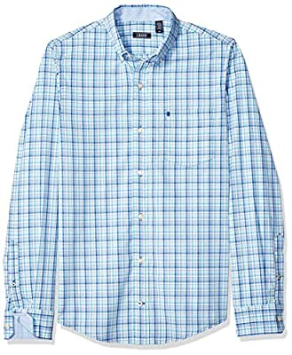 IZOD Men's Slim Fit Premium Essentials Plaid Button-Down Shirt